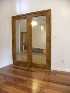 Interior shot of a wooden framed glass door
