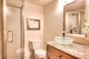 Interior shot of a bathroom with custom countertops and layout