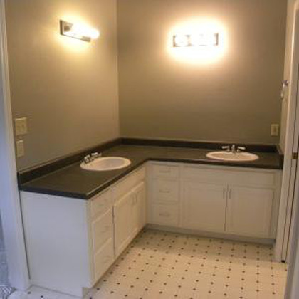 Interior shot of a residential bathroom ready for remodeling