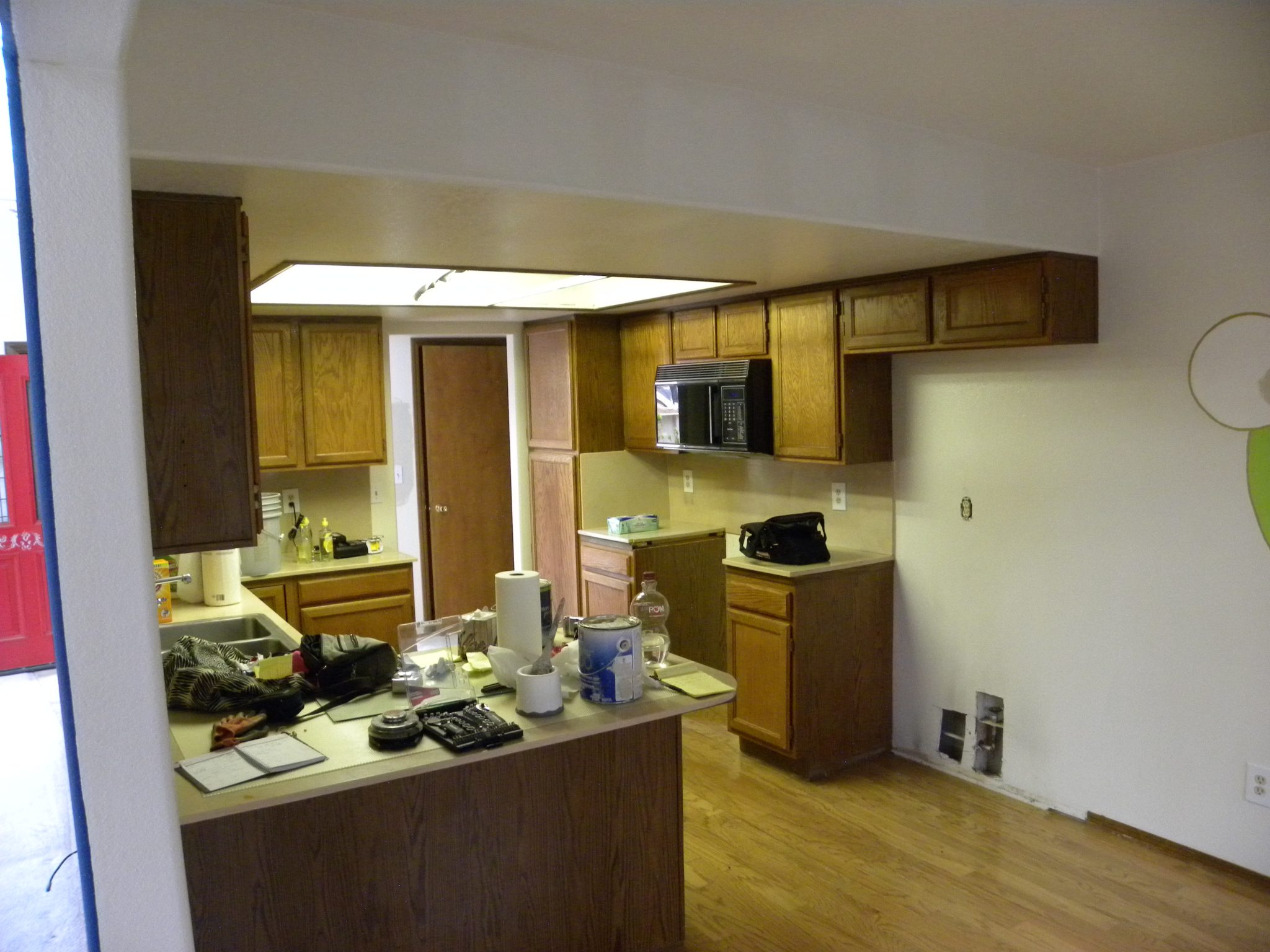 Interior shot of a residential kitchen in need of remodeling