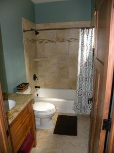 Newly remodeled bathroom with custom made shower and counter space