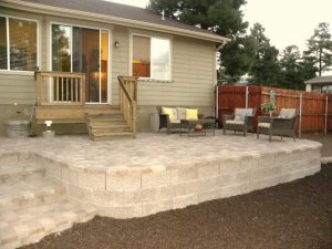 Exterior shot of a newly remodeled stone patio