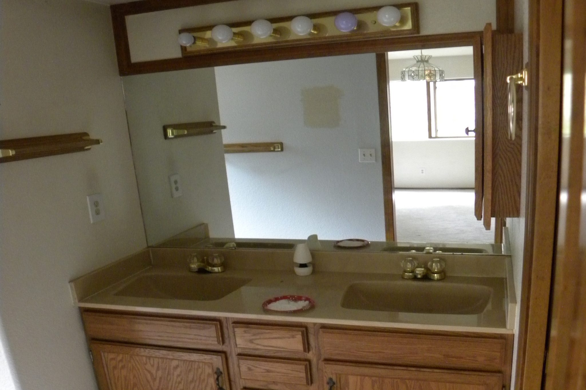 Interior shot of a residential bathroom ready to be renovated