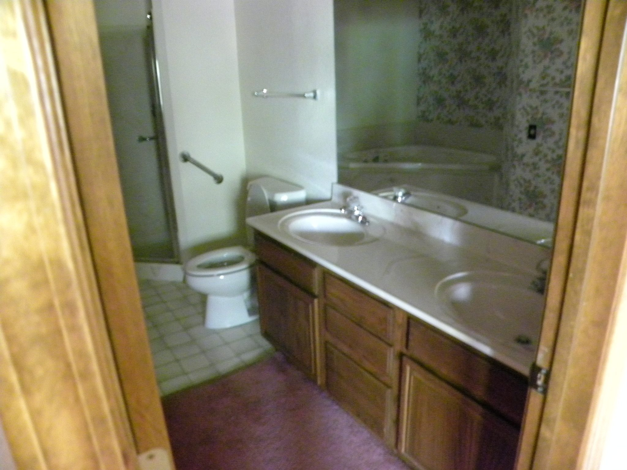 Interior shot of a residential bathroom ready to be remodeled